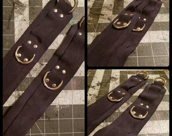 Navy Blue Suede Leather Wrist Restraints