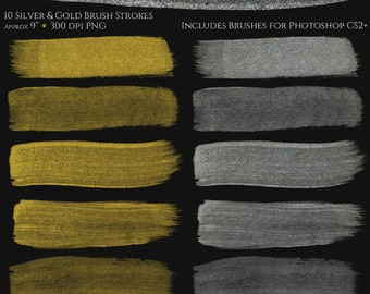 Silver and Gold Glitz Brush Strokes - Gold and Silver Brush Strokes. Brushes for Photoshop, Commercial Use