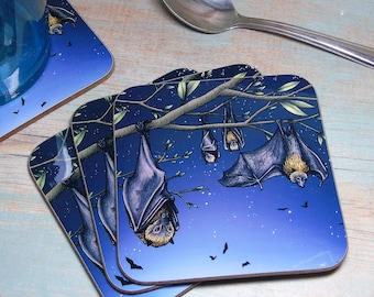 Single (x1) Rodrigues Fruit Bat Illustration Coaster