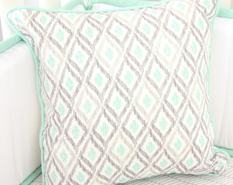 15% OFF SALE- Micahs Mint Square Pillow | Mint and Gray Nursery