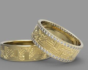 Flower of Life Wedding Ring Set Gold Wedding Ring Set