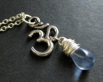 Yoga Necklace. Yoga Jewelry. Blue Necklace. Ohm Necklace. Om Necklace in Silver. Teardrop Necklace. Handmade Jewelry.