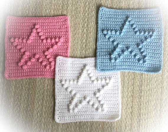 """Star Block Blanket Pattern -  9"""" x 9"""" blocks - Size Chart from Baby to Adult blankets or afghans"""