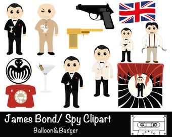 On Her Majesty's Secret Service Clipart | Spy Clipart | 007 | Invitations | Scrapbooking