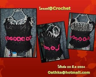 Crochet vest with pink flower around