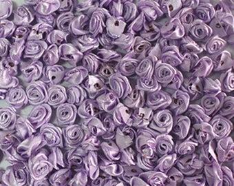 Satin Ribbon Roses-Lavender-15mm-25 PCS