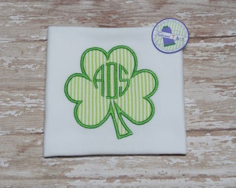 Personalized St. Patrick's Day Shirt with Applique Shamrock & Monogram - St. Patrick's Day Shirt - Boys Shamrock Shirt - Boys Clover Shirt