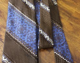 Unique Tie, Brown and Blue Wide Vintage Tie, 70s Men's Necktie