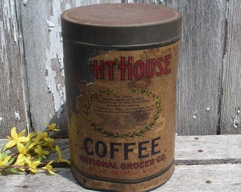 Vintage Coffee Tin, Lighthouse 5lb Coffee Can, Detroit Michigan Advertising Tin, National Grocers Co Mills