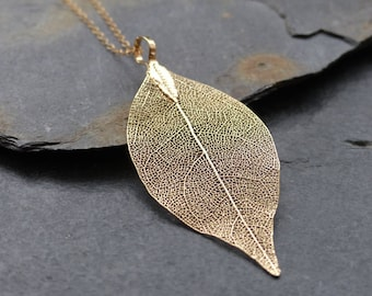 Real leaf necklace, 18K gold dipped leaf, dainty 14K gold filled chain, natural woodland jewelry, boho necklace, gift for her