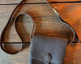 Rich Brown Leather Purse with brass hardware