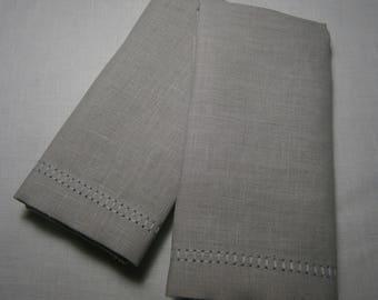 Finger Tip Towels, Belgian Linen Towels, Guest Towels, Grey Hand Towels  (Set of 2)