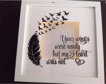 Your Wings Were Ready But My Heart Was Not - White Shadow Box with LED Lights