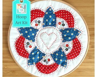 EPP Flower Hoop Art Kit in Red & Blue - English Paper-Piecing Flower Kit, Hand Sewing Kit, Craft Kit