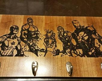 Marvels Avengers Custom Wooden Coat Rack 10X18