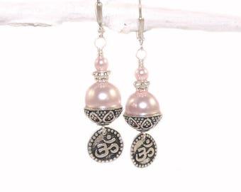 Pink Swarovski® Pearl Om Earrings, Beautiful Serene Handmade Jewelry