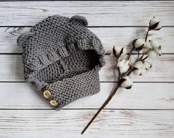 Knit Bear Hood Pattern, Chunky Knit Pattern, Infant Hood Pattern, Child Knit Pattern, Bear Hat Pattern, Child Scarf Pattern