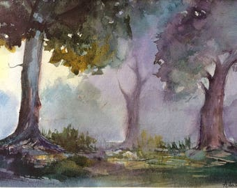 Forest Original Watercolor Painting ,Handmade ,Trees Painting ,Home Decor ,Landscape