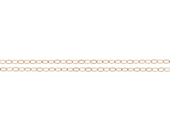 14Kt Rose Gold Filled 2x1.5mm Flat Cable Chain - 5ft Made in USA 10% discounted LOWEST PRICE wholesale quantity (4797-5)/1
