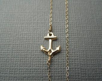 delicate gold necklace, sideways anchor necklace, dainty necklace, tiny gold anchor, layering necklace, bridesmaids wedding, nautical, N27