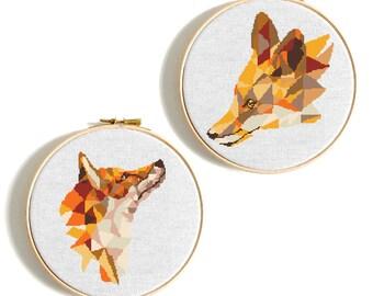 Fox Cross Stitch Pattern Geometric Fox Counted Cross stitch animals Woodland animals Modern Embroidery PDF modern fox chart Baby Wall decor