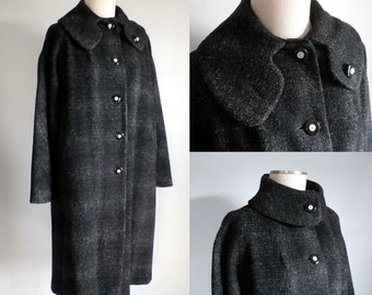 FINAL SALE --- Vintage 1950s Black + Gray Flecked Wool Coat