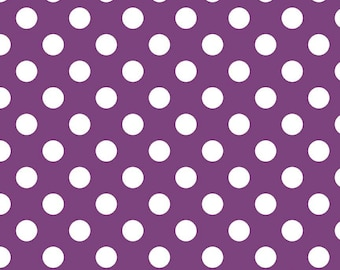 Medium Dot Purple by Riley Blake Designs - c360 125 Purple Fabric by the Yard Polka Dot Fabric- Purple and White Dot Fabric- Quilting Cotton