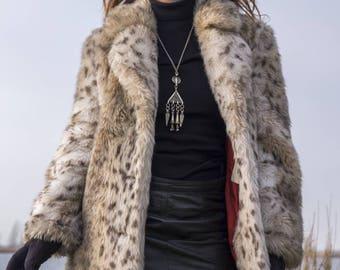 Vintage 70s White Animal Print Faux Fur Coat ~ Leopard Print Bohemian Rock Groupie Style