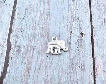 10 Tiny Elephant charms (2 sided) shiny silver tone - silver elephant pendants, zoo animal charms, Alabama charm, pachyderm charms, V13