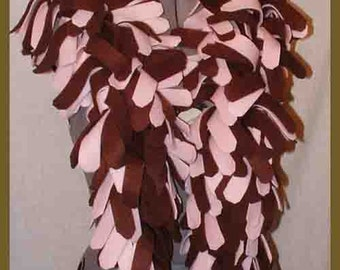 Brown/Pink Fleece Boa Scarf, 4 Layered Thick Muffler, Fashion Neck Scarf, Textured Bufanda
