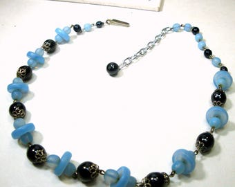 Frosted Blue ART Glass Choker Necklace,with  Black n Silver Beads n Spacers, Czech Deco Glass, Adjustable Length