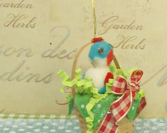 vintage inspired Easter ornament Easter basket spring decor retro ornament