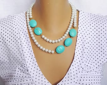 Turquoise blue, white pearl necklace, Pearl Jewelry, Beaded Bride Jewelry, Wedding Necklace