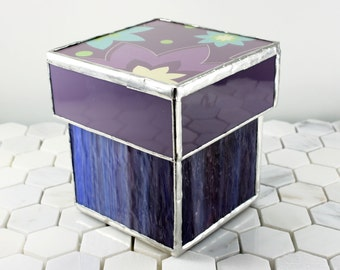 Purple Stained Glass Canister Storage Jar, Bathroom Accessory Storage, Craft Room Decor, Makeup Storage, Bathroom Container, Office Decor