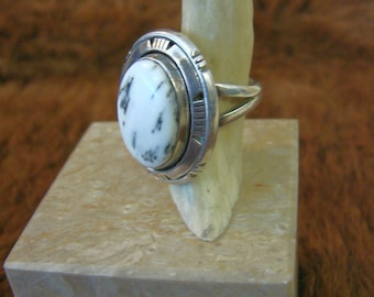 Navajo White Buffalo Turquoise Ring - Sterling and White Turquoise Ring - Sterling Silver And White Buffalo Turquoise Ring - Signed Piece