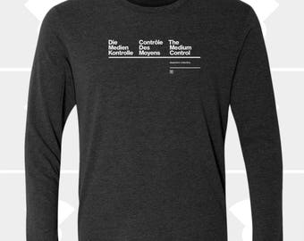 Translation Medium Control, French, German, Long Sleeve T Shirt, Gift for Traveler, Designer, Boyfriend, Men's Shirt, Typography