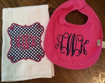 Monogram Set - Monogram Bib and Burpcloth - Pink and Blue Bib and Burpcloth - Bib and Burpcloth Set