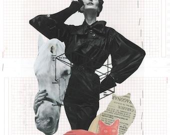 SMOKING CAT LADY ii / Collage Print / Mixed Media /Black & White / Art / Woman / Cat a4