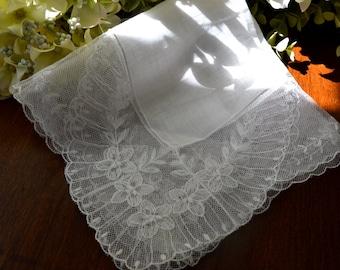Vintage autrichien mariage lin blanc mouchoir, mouchoir, mouchoir de mariée, cadeau de mariage, mouchoir de mariage pour la mariée, souvenir de mariage 3447