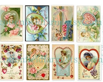 Victorian Valentine Ladies Digital Collage Sheets Set of 2 Vintage Images with Hearts C-102