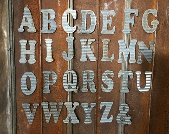 "10"" W - Recycled Antique Roofing Tin Letter by JunkFX"