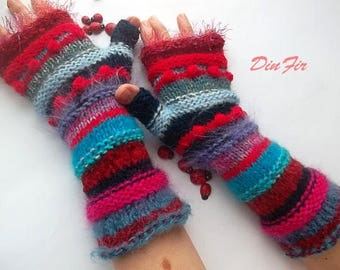 Women Size M 20% OFF Ready To Ship Wool Hand Knitted Gloves Bohemian Accessories Fingerless Mittens Warm Wrist Warmers Winter Striped 1104