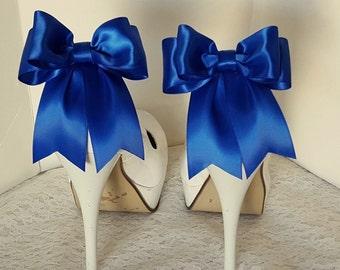 Antique Blue Shoe Clips, Wedding Shoe Clips, Bridal Shoe Clips, Satin Bow Clips,  Shoe Clips for Wedding Shoes, Bridal Shoes, MANY COLORS