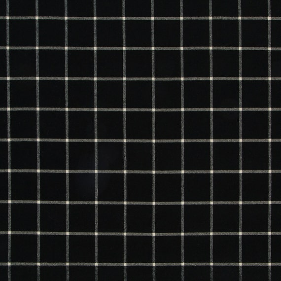 Black White Large Scale Plaid Upholstery Fabric 54 Inch