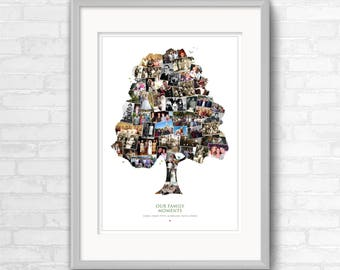Family Tree Photo Collage | Photo Montage Wall Art | Display your old family photos in the shape of a tree. Perfect genealogy gift idea