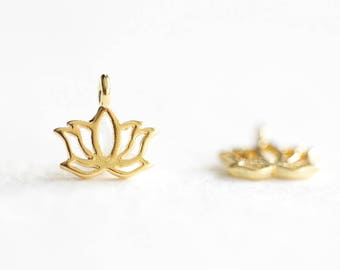 Teeny Tiny Vermeil Gold Lotus Charms - 18k gold plated over 925 sterling silver, mini size lucky lotus ohm pendants, luxem supply, flower
