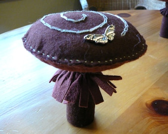 Large Mushroom Peg Doll, Waldorf Inspired, Large Wool Felt Toadstool,