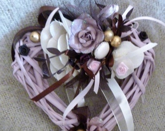 Pink braided heart pale, pearls, roses, ribbons and button.  precious happiness