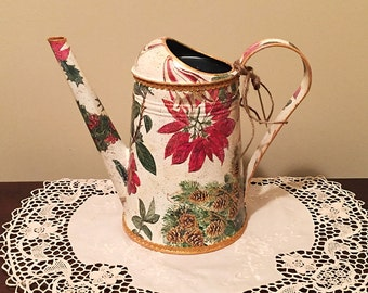 Metal Watering Can, Vintage, Hand Painted Can, Garden Decor, Garden Can, Holiday Gift, Xmas Gift - POINSETTIA