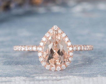 Pear Shaped Morganite Engagement Ring Rose Gold Promise Halo Wedding Women Bridal Unique Diamond Half Eternity Anniversary Gifts For Her
